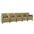 Fabric Five Seat Sofa with Center Arms, 75597