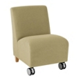 Armless Guest Chair with Casters in Vinyl, 75606