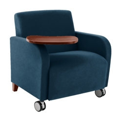 500lb. Capacity Oversized Vinyl Guest Chair with Tablet Arm and Casters, 75610
