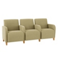 Vinyl Three Seat Sofa with Center Arms, 75618