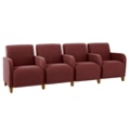 Vinyl Four Seat Sofa with Center Arms, 75621