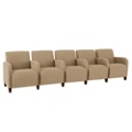 Vinyl Five Seat Sofa with Center Arms, 75624