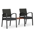 Two Guest Chairs with Center Table Set in Premium Upholstery, 76040