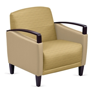 Arc Collection Fabric or Fabric/Polyurethane Arm Chair with Wood Arms, 76205