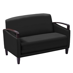 Arc Collection Polyurethane Sofa with Wood Arms, 76433