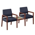 "Two Fabric Guest Chairs with Connecting Table - 22.5""W x 23.5""D, 76291"