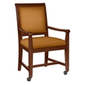 Fabric Dining Chair with Wood Frame and Front Casters, 76355