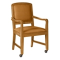 Square Back Fabric Dining Chair with Wood Frame and Front Casters, 76361