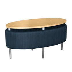 Oval Floating Laminate Table Top with Striped Fabric Sides, 76385