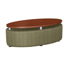 Oval Floating Laminate Table Top with Striped Fabric Sides, 76397