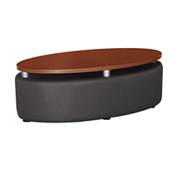 Oval Floating Laminate Table Top with Solid Fabric Sides, 76398