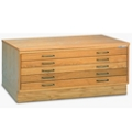 "45""W Five Drawer Wood Plan File, 70025"