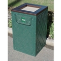 Recycled Plastic Waste Receptacle with Ashtray Top - 10 Gallon, 80565