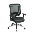 High Back Mesh Chair with Leather Seat and Polished Aluminum Base, CD03234