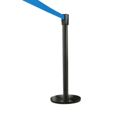 Crowd Control Post In Satin Black with 12' Strap, 85006