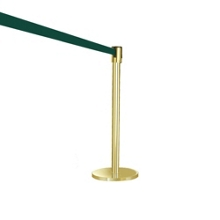Crowd Control Post In Mirror Brass with 12' Strap, 85009