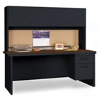 Steel Single Pedestal Desk with Hutch, 86116