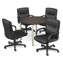 """At Work 42"""" Conference Table with Four Mayor Leather Chairs, 86139"""