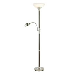 Traditional Glass Shade Floor Lamp with Reading Light, 87567
