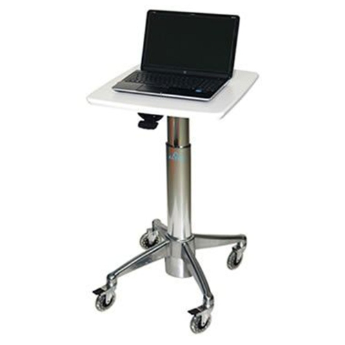 Altus Adjustable Height Laptop Cart White Surface\/Polish Aluminum Base