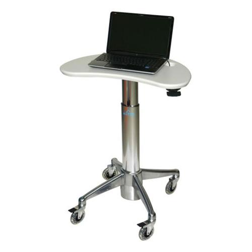 Altus KidneyShaped Adjustable Height Laptop Cart with Lock White Surface\/Polish Aluminum Base
