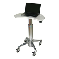 Kidney-Shaped Adjustable Height Laptop Cart with Lock, 61005