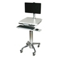 Locking Adjustable Height Cart with Adjustable Monitor Stand, 61012