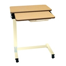 """Split-Top Overbed U-Base Table with Laminate Top and Vanity Drawer - 32""""W, 26186"""