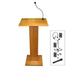 Wood Veneer Lectern with Wireless Lapel Mic, 85103