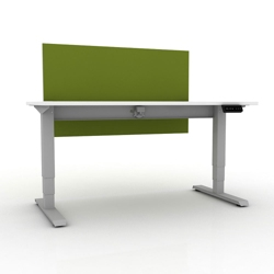 """Sit-to-Stand Height Adjustable Desk with Privacy Screen - 60""""W x 30""""D, 14139"""