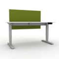 "Sit-to-Stand Height Adjustable Desk with Privacy Screen - 60""W x 30""D, 14139"