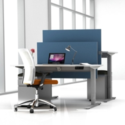 """Set of Two 48""""W Height Adjustable Desks with Privacy Screens & Mobile Files, 14144"""