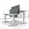 "Set of Two 60""W Height Adjustable Desks with Privacy Screens, 14146"