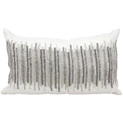 "kathy ireland by Nourison Silver Beaded Rectangular Pillow - 20"" x 12"", 82251"