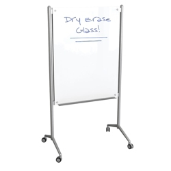 Double Sided Mobile Glass Markerboard, 80351