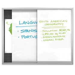 Sliding Glass Markerboard with Bulletin Board - 4 ft x 3 ft, 80352