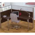 "Left L-Desk with Two 55.5""H Acrylic Privacy Panels, 13209"