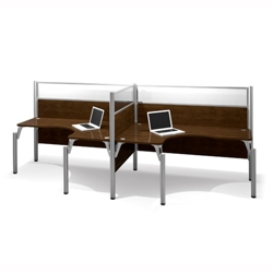 """Two Person Side-by-Side L-Desk Station with Three 55.5""""H Acrylic Panels, 13217"""