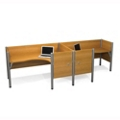 "Two Person Side-by-Side L-Desk Station with Seven 43""H Privacy Panels, 13219"