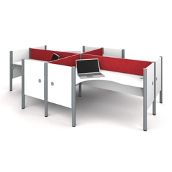 """Four L-Desks with 43""""H Tack Board Panels, 14452"""