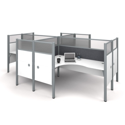 """Four L-Desks with 55.5""""H Tack Board Panels, 14453"""