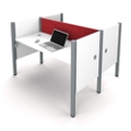 "Double Workstation with 43""H Tack Board Panels, 14454"
