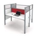 "Double Workstation with 55.5""H Tack Board Panels, 14455"