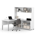 "Metal Leg L-Desk with Hutch - 71.1""W, 14494"