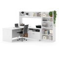 L-Desk with Open Hutch and Bookcase, 14519