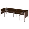 "Double Back-to-Back Open L-Desk Workstation with Four 43""H Privacy Panels, 13221"