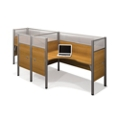 "Two Person Side-by-Side L-Desk Station with Seven 55.5""H Acrylic Panels