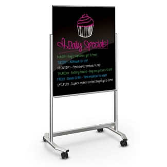"39""Wx75""H Dual Sided Black Magnetic Markerglass Easel, 80446"