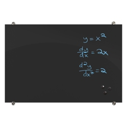 "96""W x 48""H Black Magnetic Markerglass Board, 80894"