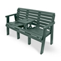 "Outdoor Bench with Drop Center Table - 60""W, 82318"